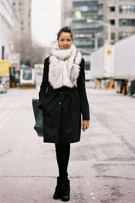 streetstyle new york fashion week fur scarf
