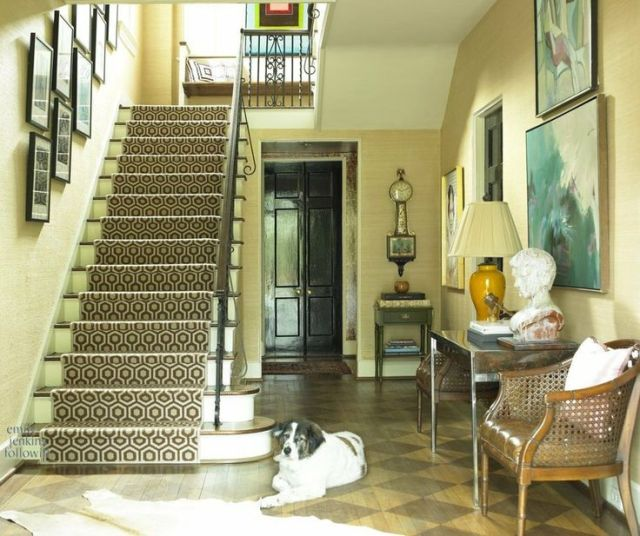 Cinda and Mark Atlanta Home Tour Entry David Hicks Stair Runner