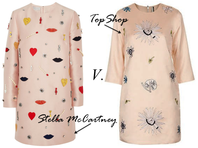 Stella McCartney Embellished Silk Twill Shift Dress TopShop Embroidered Shift Pink Peach SS 2014