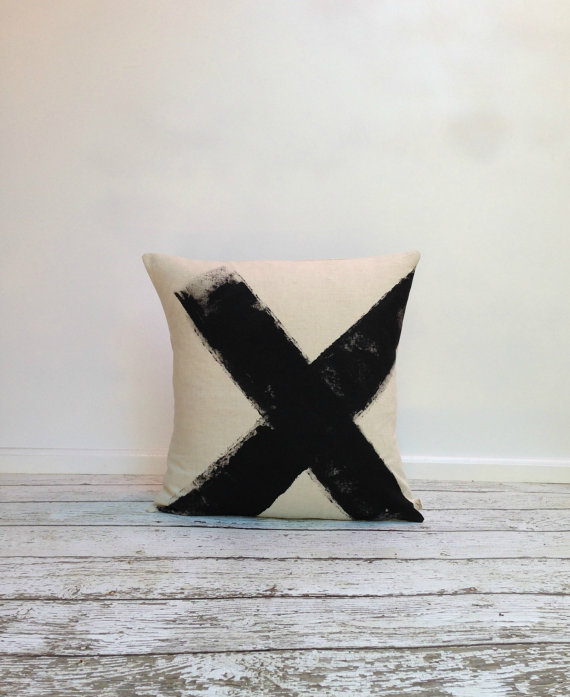 agnesandyou-black-x-hand-painted-linen-pillow