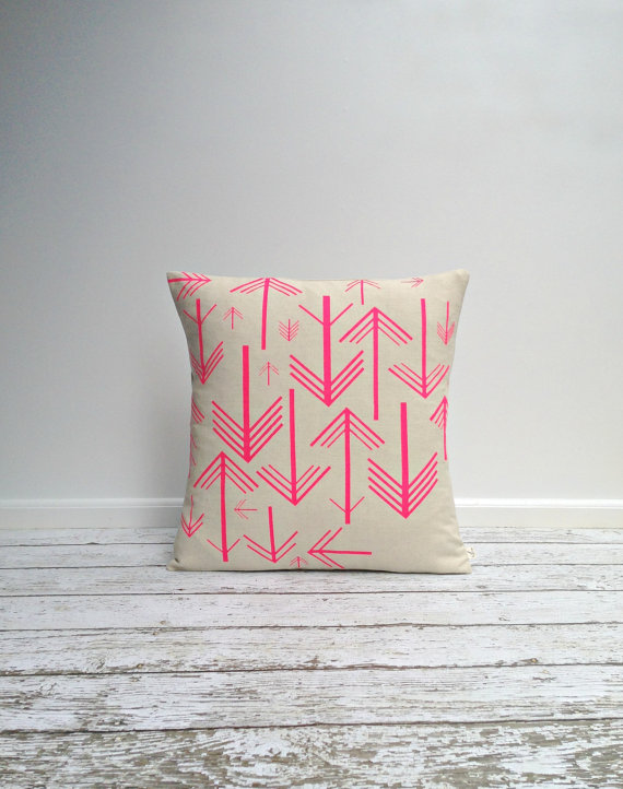 agnesandyou-neon-pink-arrows-hand-painted-linen-pillow
