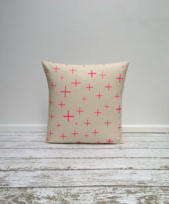 agnesandyou-neon-pink-crosses-hand-painted-linen-pillow