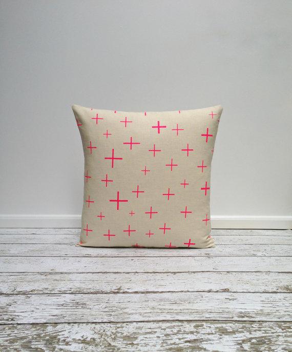 agnesandyou-neon-pink-crosses-hand-painted-linen-pillow
