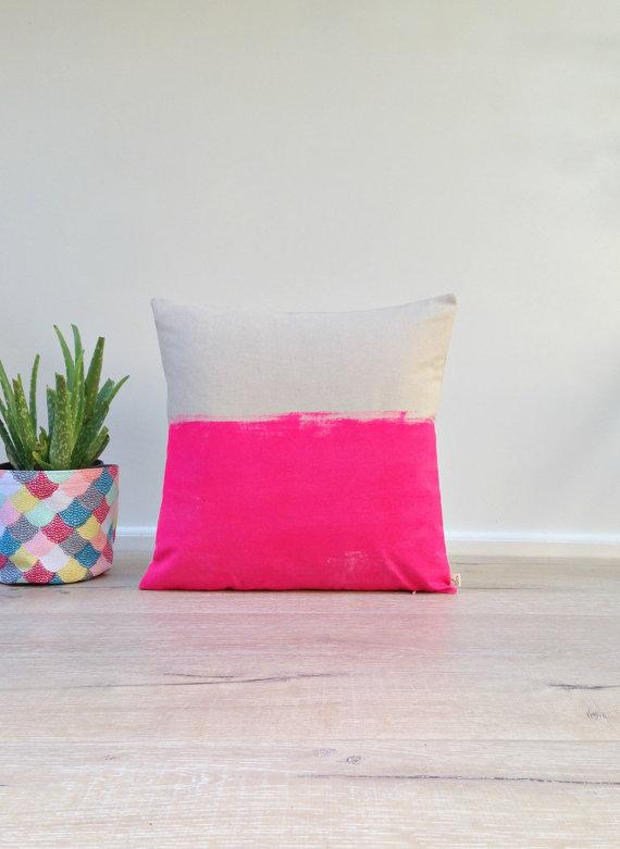 agnesandyou-neon-pink-hand-dyed-linen-pillow