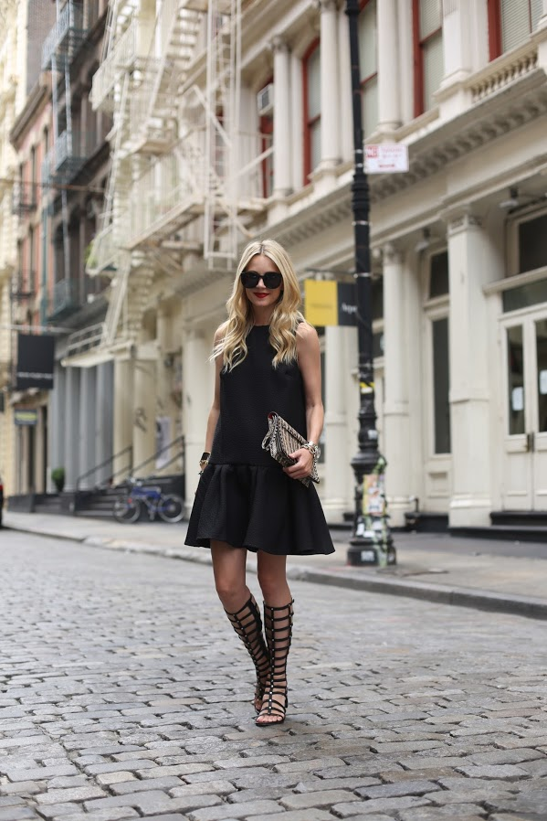 atlantic-pacific-gladiator-sandals-stuart-weitzman-black-dress-soho