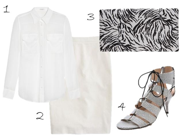 kate-davidson-hudson-white-on-white-pencil-skirt-equipment-signature-blouse-loeffler-randall-sandals-philip-treacy-zebra-clutch