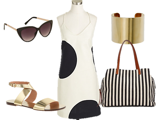 fashion-challenge-jcrew-factory-dress-fedora-tote-sandals-thecovetable