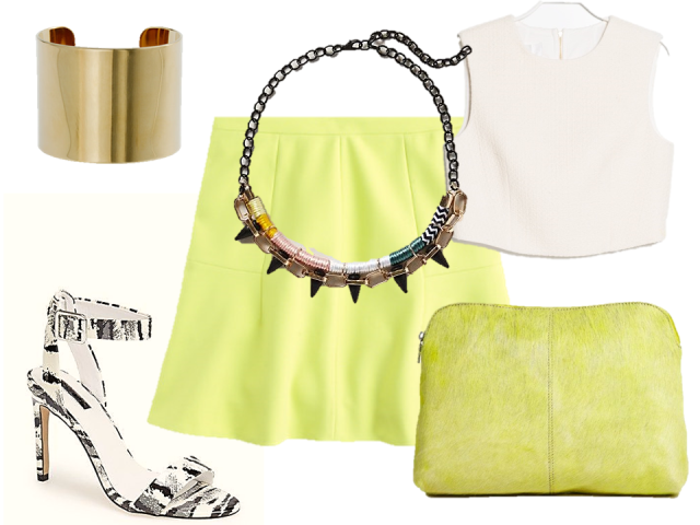 fashion-challenge-night-citron-fluted-mini-skirt-crop-top-necklace-sandals-thecovetable