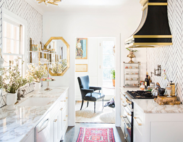 eclectic-modern-traditional-nashville-home-tour-kitchen-brass-pulls-herringbone-tile-thecovetable
