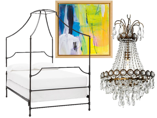 thecovetable-eclectic-traditional-home-get-the-look-canopy-bed-crystal-chandelier-modern-artwork