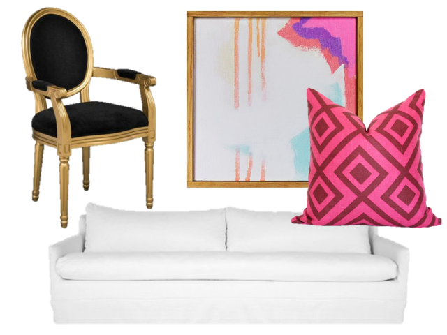 thecovetable-eclectic-traditional-home-get-the-look-david-hicks-pillow-klein-sofa-louis-xv-chair-modern-artwork