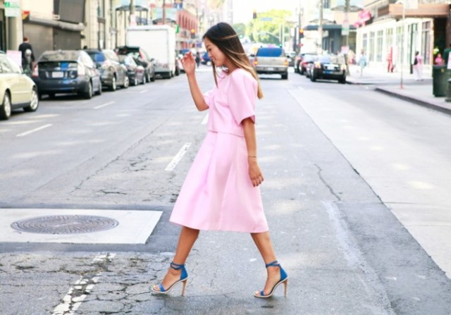 Tibi-Pre-Fall-2014-Style-Session-with-Aimee-Song-lookbook-love-the-covetable-Pink-Crop-Top-Midi-Skirt