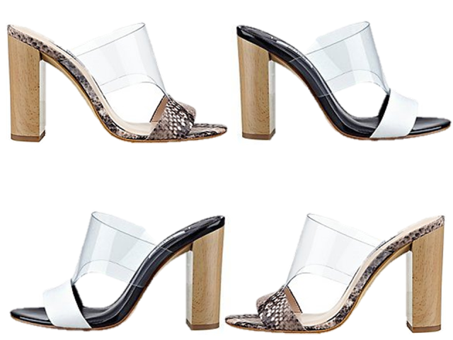 Go Buy Now Guess Lucite Chunky Heel Slide White & Natural Snake The Covetable