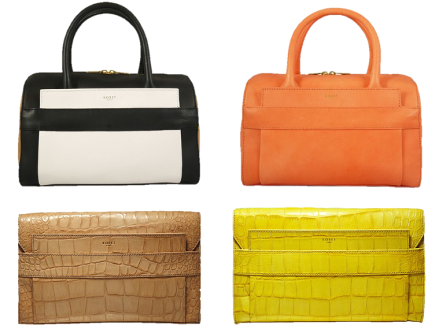 Koret-2014-Ori-Satchel-Clutch-Black-White-Embossed-Croc-Tangerine-Yellow