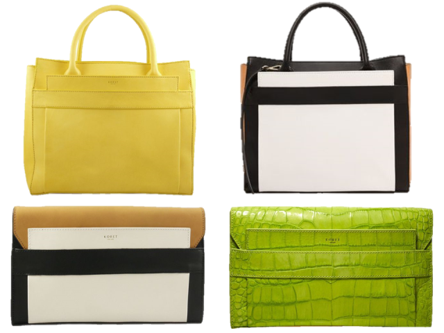 Koret-2014-Ori-Tote-Clutch-Black-White-Embossed-Croc-Yellow-Lime
