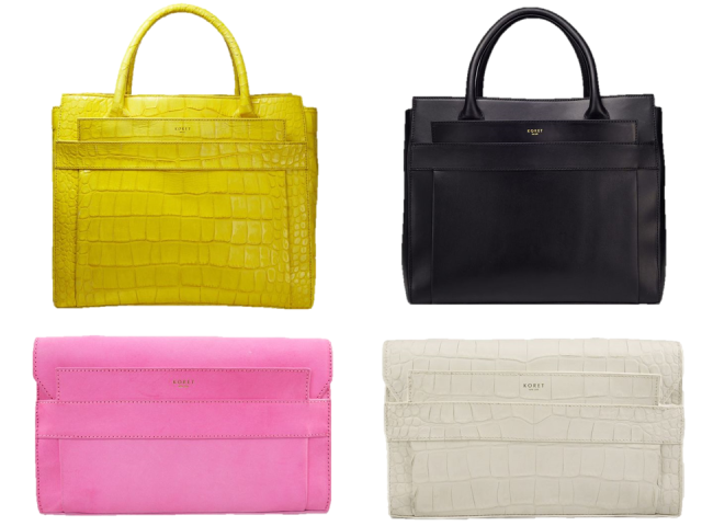 Koret-2014-Ori-Tote-Clutch-Yellow-Pink-Black-White-Embossed-Croc