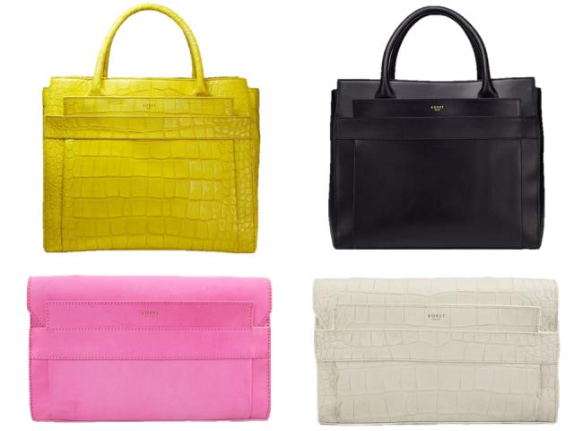 Koret-2014-Ori-Tote-Clutch-Yellow-Pink-Black-White-Embossed-Croc