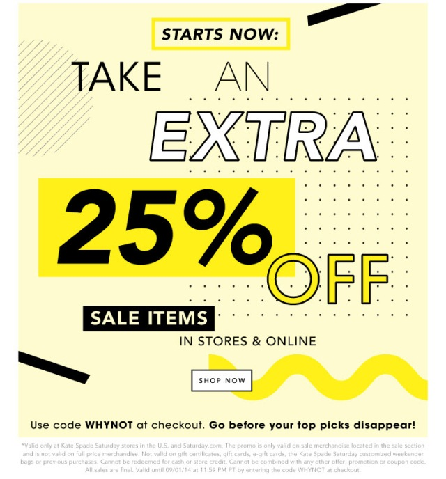 The Covetable Sale Alert Kate Spade Saturday Extra 25% Off Sale