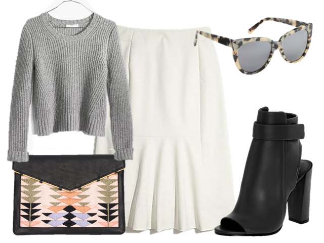 look of the day madewell crop sweater midi skirt vince bootie lizzie fortunato clutch prism sunglasses the covetable