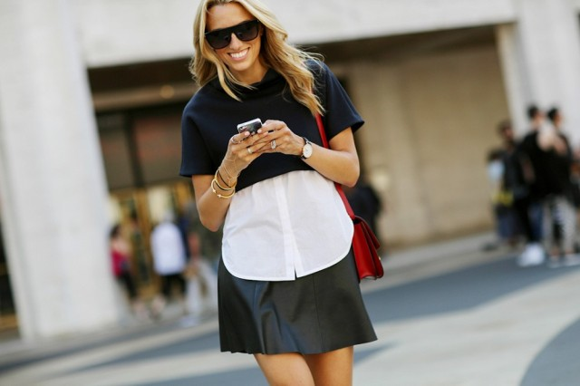 NYFW SS 2015 Street Style Black Crop Sweater + White Shirt + Leather Skirt - Copy