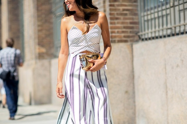 NYFW SS 2015 Street Style Check Strapless Top + Stripe Skirt