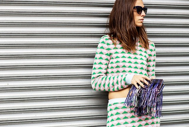 NYFW SS 2015 Street Style Crop Sweater + Skirt - Copy