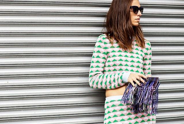 NYFW SS 2015 Street Style Crop Sweater + Skirt - Copy