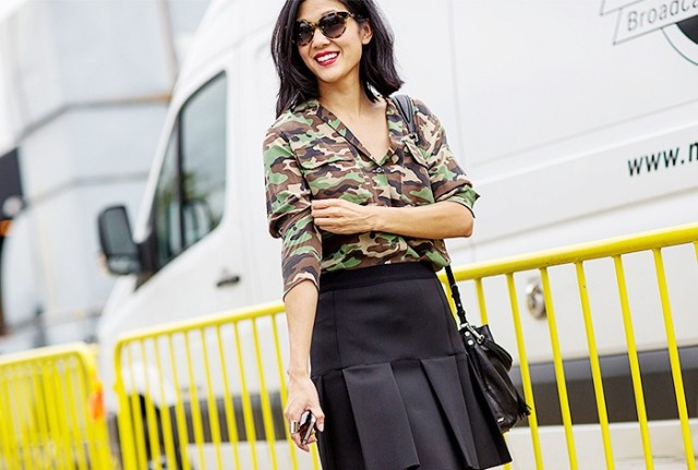 NYFW SS 2015 Street Style Fatigue Shirt + Black Mini A-Line Skirt - Copy