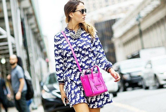 NYFW SS 2015 Street Style Printed Shirt Dress + Celine Cross body Bag