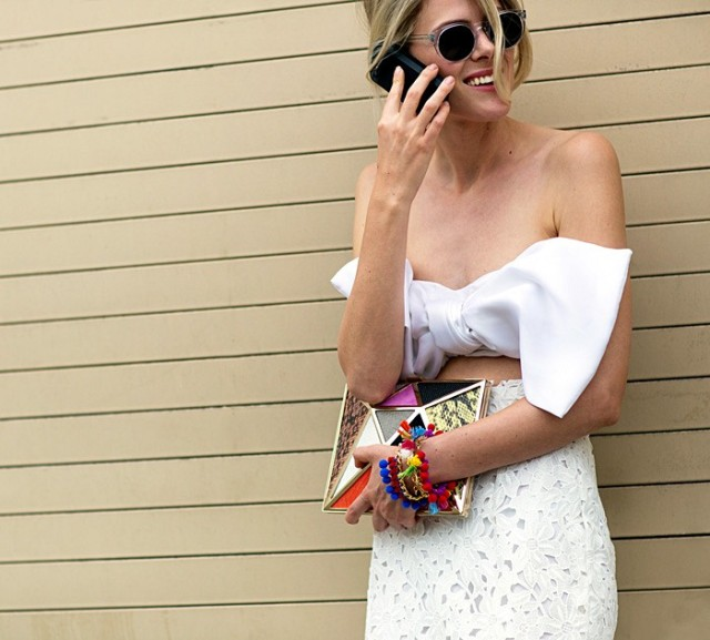 NYFW SS 2015 Street Style White Crop Tie Top + Clutch
