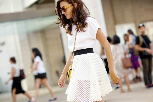 NYFW SS 2015 Street Style White Tee + Skirt