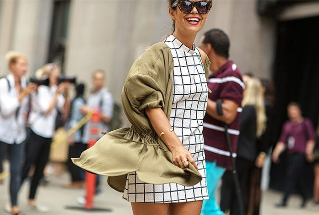 NYFW SS 2015 Street Style Window Pane Check Dress + Tortious Cat Eye Sunglasses