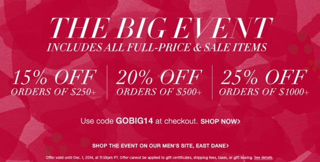 Shopbop Big Event Sale Alert 2014 Full and Sale Price Items Gobig14