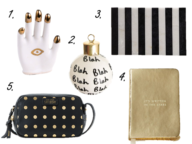 Gift Guide 2014 Under 100 for her Saturday Bag Blah Ornament Kate Spade Notebook Marble Cutting Board