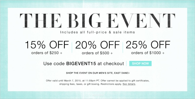 Shopbop Big Event Sale Alert Up to 25% Off TheCovetable